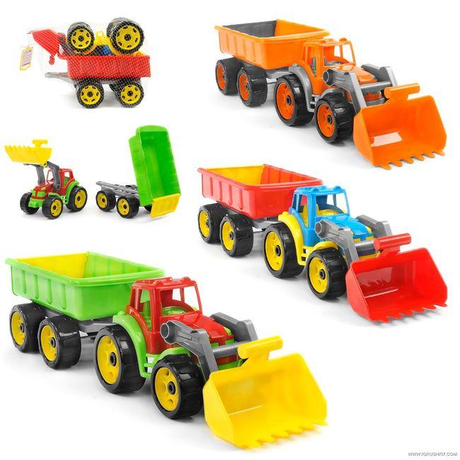 Игрушечный трактор с ковшом и прицепом ТехноК 3688
