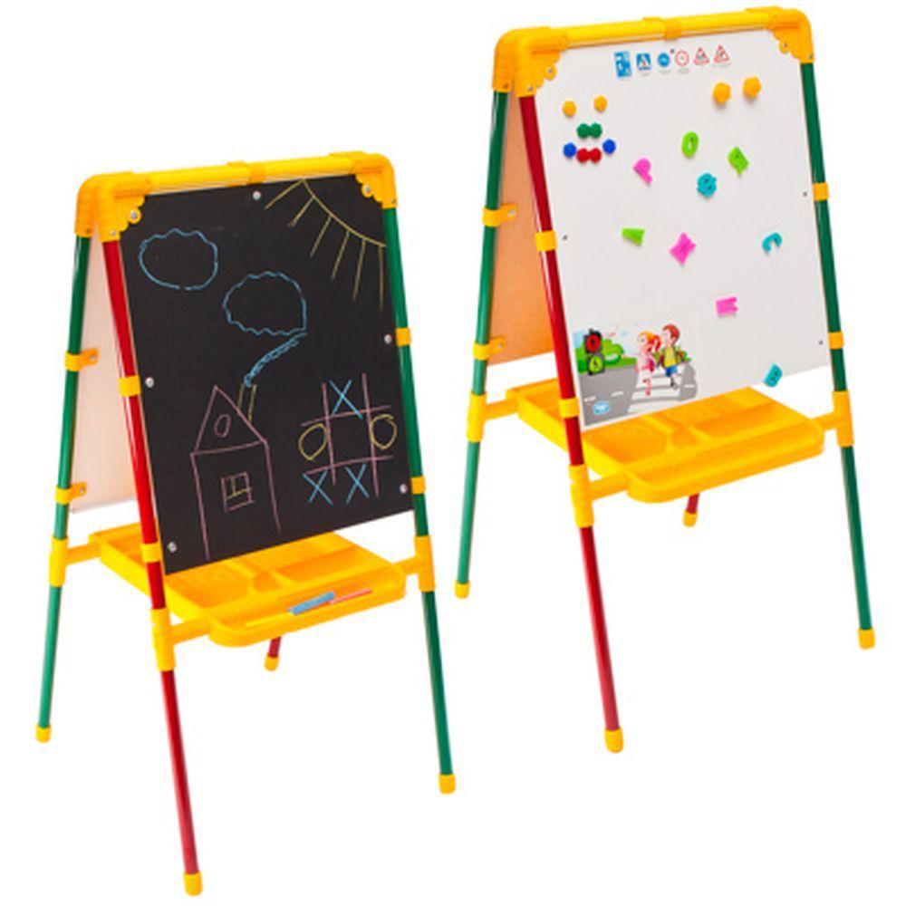 Детский двусторонний мольберт Ника М1 с азбукой и пеналом (светофор)